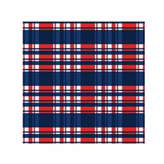 Plaid Red White Blue Small Satin Scarf (square)