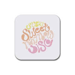 Sugar Sweet Rainbow Rubber Coaster (square)