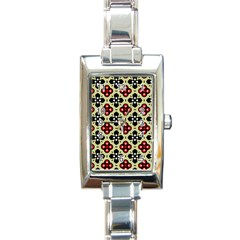 Seamless Floral Flower Star Red Black Grey Rectangle Italian Charm Watch