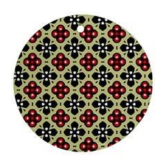 Seamless Floral Flower Star Red Black Grey Ornament (Round)