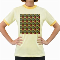Seamless Floral Flower Star Red Black Grey Women s Fitted Ringer T-Shirts