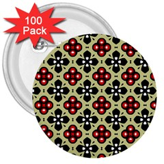 Seamless Floral Flower Star Red Black Grey 3  Buttons (100 Pack)