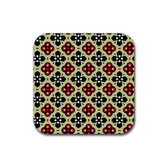 Seamless Floral Flower Star Red Black Grey Rubber Square Coaster (4 Pack)