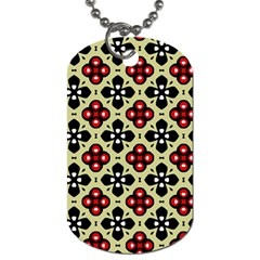 Seamless Floral Flower Star Red Black Grey Dog Tag (two Sides)