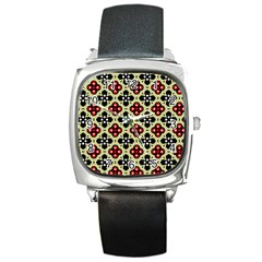 Seamless Floral Flower Star Red Black Grey Square Metal Watch