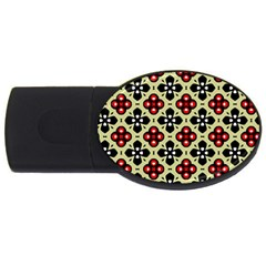 Seamless Floral Flower Star Red Black Grey USB Flash Drive Oval (4 GB)