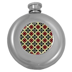 Seamless Floral Flower Star Red Black Grey Round Hip Flask (5 oz)