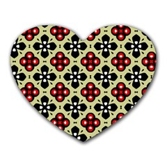 Seamless Floral Flower Star Red Black Grey Heart Mousepads