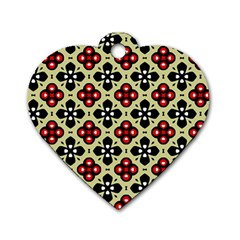 Seamless Floral Flower Star Red Black Grey Dog Tag Heart (One Side)