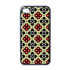 Seamless Floral Flower Star Red Black Grey Apple iPhone 4 Case (Black)