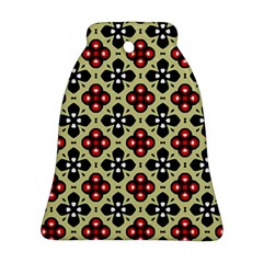 Seamless Floral Flower Star Red Black Grey Ornament (Bell)
