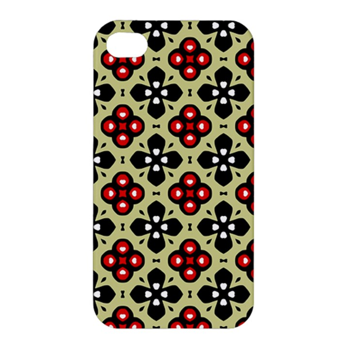 Seamless Floral Flower Star Red Black Grey Apple iPhone 4/4S Hardshell Case