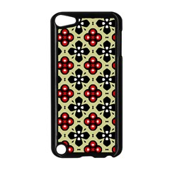 Seamless Floral Flower Star Red Black Grey Apple iPod Touch 5 Case (Black)