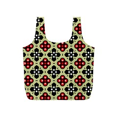 Seamless Floral Flower Star Red Black Grey Full Print Recycle Bags (S)