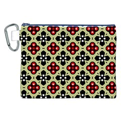 Seamless Floral Flower Star Red Black Grey Canvas Cosmetic Bag (XXL)