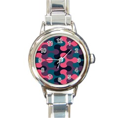 Symmetry Celtic Knots Contemporary Fabric Puzzel Round Italian Charm Watch