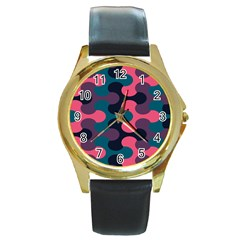 Symmetry Celtic Knots Contemporary Fabric Puzzel Round Gold Metal Watch