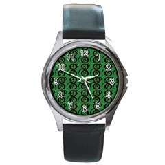 Abstract Pattern Graphic Lines Round Metal Watch