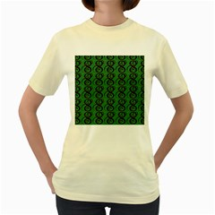 Abstract Pattern Graphic Lines Women s Yellow T Shirt