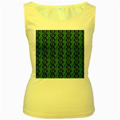 Abstract Pattern Graphic Lines Women s Yellow Tank Top