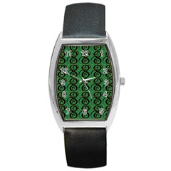 Abstract Pattern Graphic Lines Barrel Style Metal Watch