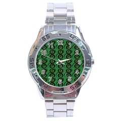 Abstract Pattern Graphic Lines Stainless Steel Analogue Watch
