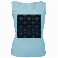 Line Geometry Pattern Geometric Women s Baby Blue Tank Top