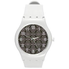 Line Geometry Pattern Geometric Round Plastic Sport Watch (m)