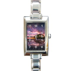 Landscape Reflection Waves Ripples Rectangle Italian Charm Watch