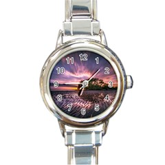 Landscape Reflection Waves Ripples Round Italian Charm Watch