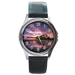 Landscape Reflection Waves Ripples Round Metal Watch