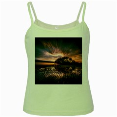 Landscape Reflection Waves Ripples Green Spaghetti Tank