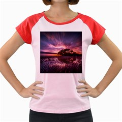 Landscape Reflection Waves Ripples Women s Cap Sleeve T Shirt