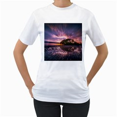 Landscape Reflection Waves Ripples Women s T-Shirt (White) (Two Sided)