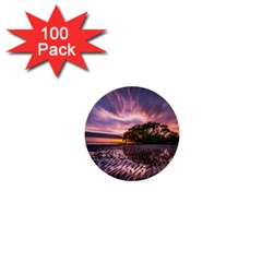 Landscape Reflection Waves Ripples 1  Mini Buttons (100 Pack)