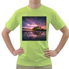 Landscape Reflection Waves Ripples Green T-Shirt