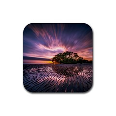 Landscape Reflection Waves Ripples Rubber Coaster (square)