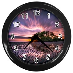 Landscape Reflection Waves Ripples Wall Clocks (black)