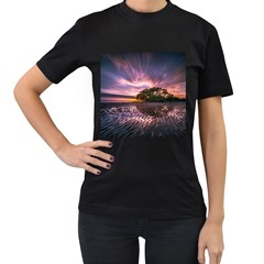 Landscape Reflection Waves Ripples Women s T Shirt (black) (two Sided)