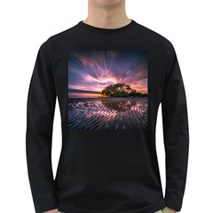 Landscape Reflection Waves Ripples Long Sleeve Dark T Shirts