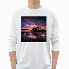 Landscape Reflection Waves Ripples White Long Sleeve T-Shirts
