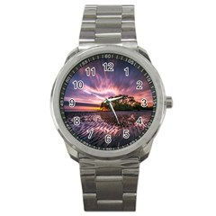 Landscape Reflection Waves Ripples Sport Metal Watch