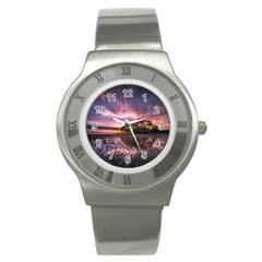 Landscape Reflection Waves Ripples Stainless Steel Watch