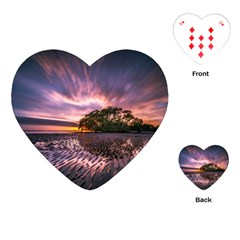 Landscape Reflection Waves Ripples Playing Cards (heart)