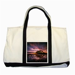 Landscape Reflection Waves Ripples Two Tone Tote Bag
