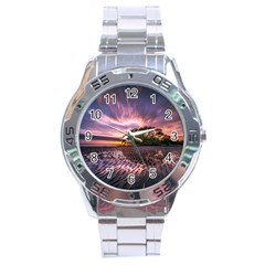 Landscape Reflection Waves Ripples Stainless Steel Analogue Watch