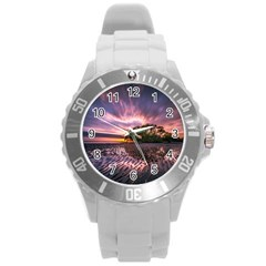 Landscape Reflection Waves Ripples Round Plastic Sport Watch (L)