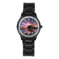 Landscape Reflection Waves Ripples Stainless Steel Round Watch