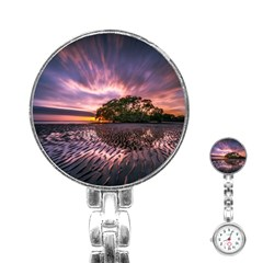 Landscape Reflection Waves Ripples Stainless Steel Nurses Watch