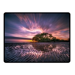Landscape Reflection Waves Ripples Double Sided Fleece Blanket (small)